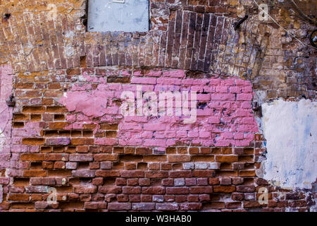 Old brick wall of a building that was built in the late nineteenth century.A good background for a site about construction,architecture,history,art. - Stock Photo