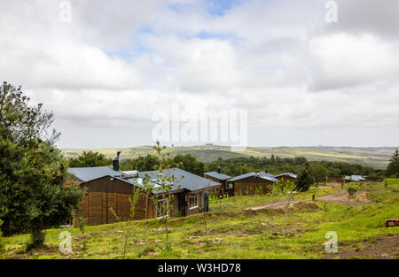 Grootvadersbosch self catering log cabins or chalet accommodation in the  nature reserve Langeberg region close to Heidelberg in the Cape,South Africa - Stock Photo