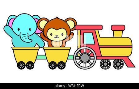 cute little monkey and elephant in train - Stock Photo