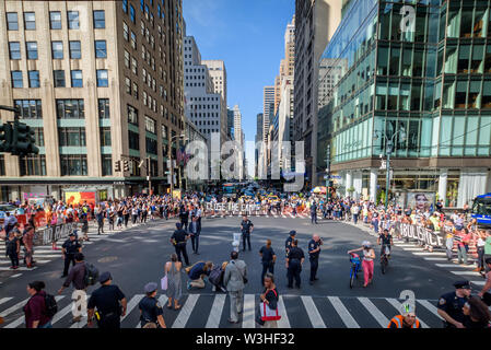 New York, USA. 15th July, 2019. A dirty toilet bowl was placed to call attention to the migrants forced to drink from it - More than 40 members of the direct action group Rise and Resist were arrested after shutting down rush hour traffic at the intersection of 42nd Street and Fifth Avenue in the heart of New York City on July 15, 2019 advocating for immigrants' rights and demanding the public wake up, take action, and end the border crisis terror and the terror inflicted on immigrant communities. Activists held three banners that read, 'Close the Camps'', 'No Raids'', and 'Abolish I - Stock Photo