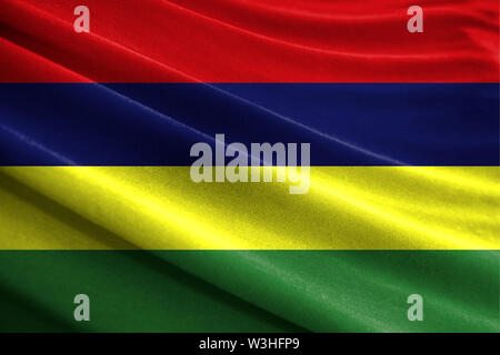Realistic flag of Mauritius on the wavy surface of fabric - Stock Photo