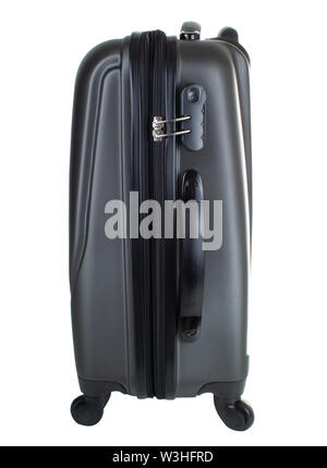 side part of the suitcase with combination lock isolated on white background - Stock Photo