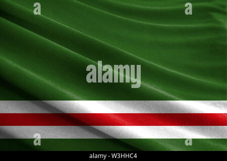 Realistic flag of Chechen Republic of Ichkeria on the wavy surface of fabric - Stock Photo