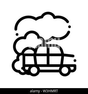 Car Co2 Carbonic Oxide Air Vector Thin Line Icon - Stock Photo