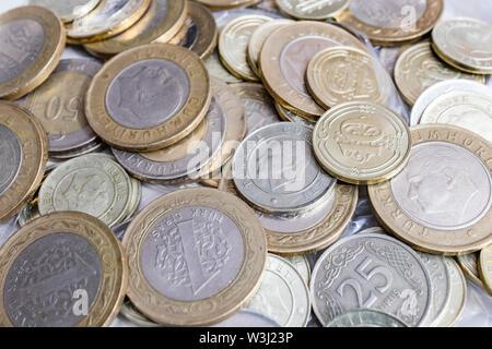 close up turkish metal coins - Stock Photo