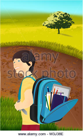 Portrait of schoolboy with a backpack in nature, park, outdoors. Schoolbag with school supplies - Stock Photo