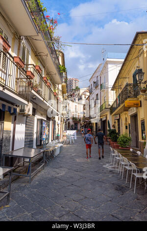 Pizzo, Calabria, Italy - September 10, 2016: Tourists walk Corso Giuseppe Garibaldi streen in the old town of Pizzo with many shops and restaurants - Stock Photo