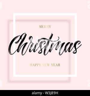 Black lettering Christmas in the square frame - Stock Photo