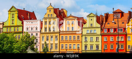 Wroclaw, Poland Old Town Salt Market Square panoramic banner with row of colorful houses - Stock Photo