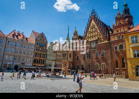 Wroclaw, Poland - July 2019:  The main market square in the old town of Wroclaw, Poland. Wroclaw square is one of the largest markets in Europe. - Stock Photo