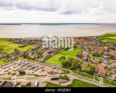 Aerial view of Marken, a small Dutch island in the Markermeer / Ijsselmeer on the North Sea coast. - Stock Photo