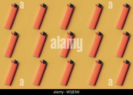 Gasoline lighter, orange plastic lighter on a flat creative background. - Stock Photo