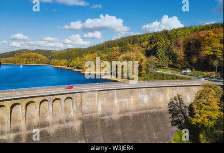 Aerial view of the agger dam (Aggertalsperre) in Gummersbach - Stock Photo
