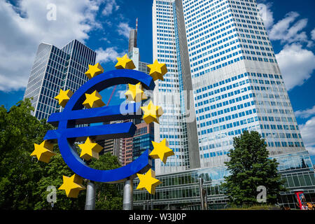 Frankfurt, Germany - July 2019: Euro Sign at European Central Bank (ECB), the central bank for the euro and administers the monetary policy of the EU - Stock Photo
