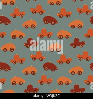 seamless vector pattern with red and orange toy cars - Stock Photo