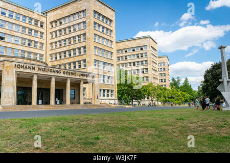 Frankfurt, Germany - July 2019: Frankfurt Goethe University Westend campus main building. The building is famous as historical IG Farben building. - Stock Photo