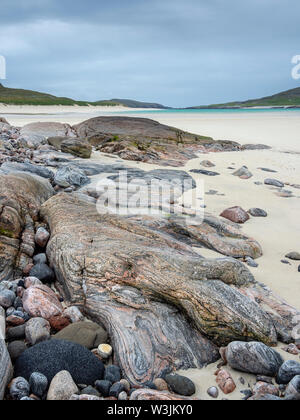 Rock formations and patterns on the beach at Tráigh Mheilein near Huisinis, Isle of Harris, Outer Hebrides, Scotland - Stock Photo