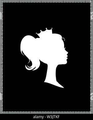 Princess or Queen Profile Silhouette with Crown on Head, Monochrome Cameo Victorian Portrait of Royal Person in Lace Frame, Cute Girl Weraring Tiara S - Stock Photo