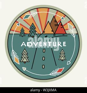Round retro or vintage style. Outdoor decor for cars, travel. Mountains, pines, sunset. Inscription Adventure. The emblem of tourism. The symbol of the road. Club label for prints, clothes. Inspiring logo illustration. White arrows, gray background - Stock Photo