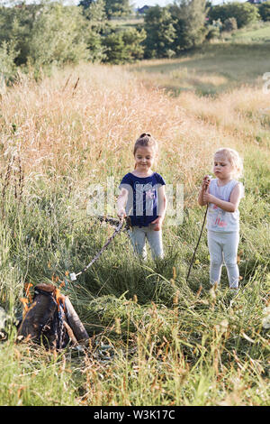 Little girls roasting marshmallows over a campfire on a meadow. Candid people, real moments, authentic situations - Stock Photo