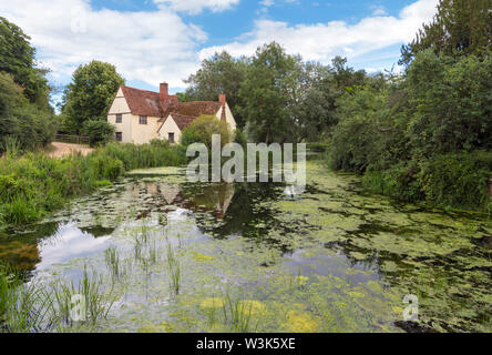 Willy Lott's Cottage on the River Stour at Flatford Mill, featured in Constable's Hay Wain, East Bergholt, Essex, England, UK - Stock Photo