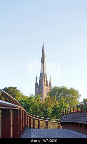 A view of the Norwich Cathedral spire from the Jarrold Bridge over the River Wensum in Norwich, Norfolk, England, United Kingdom, Europe. - Stock Photo