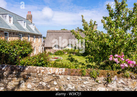 Saints Farm, a restored traditional farmhouse at Icart, Guernsey, Channel Islands UK - Stock Photo