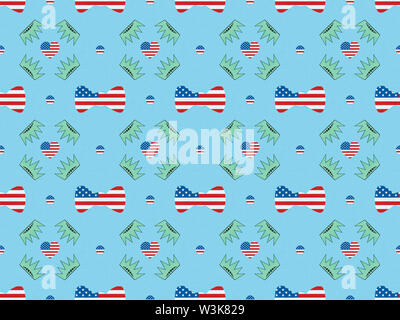 seamless background pattern with bow ties, hearts and circles made of us flags and crowns on blue, Independence Day concept - Stock Photo