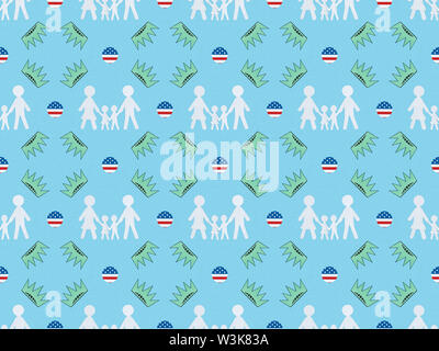 seamless background pattern with white paper cut families, circles made of american flags and crowns on blue, Independence Day concept - Stock Photo