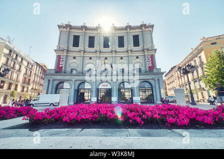 Madrid, Spain - June 21, 2019: The Opera House, (Teatro Real), located just in front of the Palacio Real, the official residence of the Queen who orde - Stock Photo