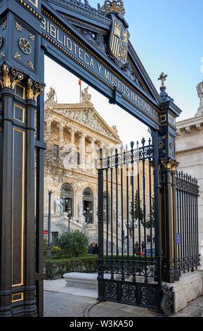 The entrance to The Biblioteca Nacional de España, National Library of Spain, on the Paseo de Recoletos, central Madrid, Spain, - Stock Photo