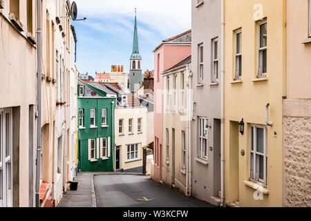 George Street, one of the steep side streets in St Peter Port, Guernsey, Channel Islands UK