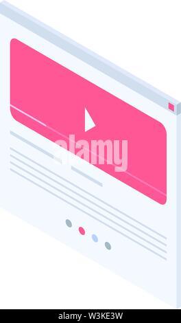 Web play video icon, isometric style - Stock Photo