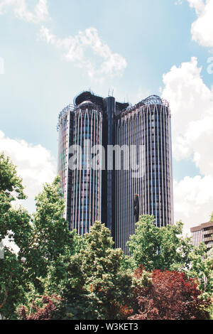 Madrid, Spain - June 21, 2019: Modern skyscrapers in Madrid, the capital of Spain. - Stock Photo