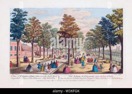 A View of St. James's Park taken near the Stable Yard, Comprehending St. James's Palace, Westminster Abby, Whitehall etc.   After a hand-coloured engraving published circa 1750 - Stock Photo