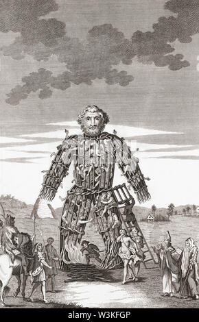 Wicker man. Large wooden or cane hollow wickerwork statue used by Druid priests. Reportedly, victims were placed in the structure and then burned to death as a form of sacrifice to the gods.  From a 1781 edition of  A Tour in Wales by Thomas Pennant. - Stock Photo