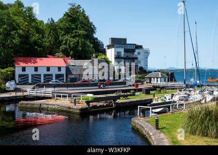 Sea lock (lock 15) with Crinan Hotel in background at Crinan village on Crinan Canal, Argyll and Bute, Scotland, UK - Stock Photo