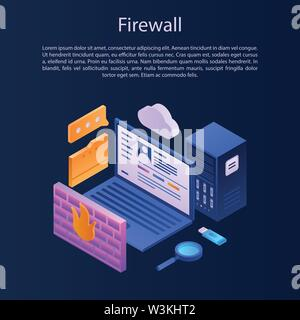 Firewall protection concept background, isometric style - Stock Photo
