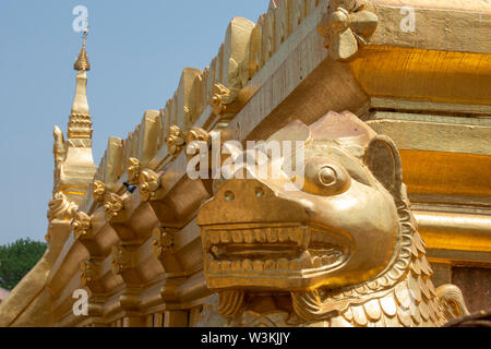 Myanmar aka Burma, Bagan. Shwezigon Pagoda or Shwezigon Paya, Buddhist temple located in Nyaung-U. Gold tmple detail. - Stock Photo