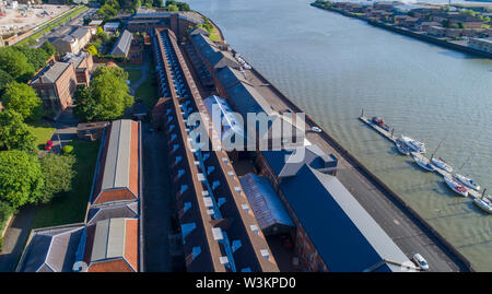 The Ropery and other buildings at Chatham Historic Dockyard in Kent - Stock Photo