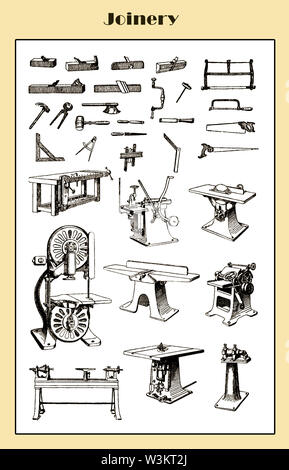 Vintage table with equipment and tools for wood carpentry - Stock Photo