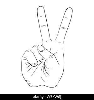 Hand gesture with peace sign - Stock Photo