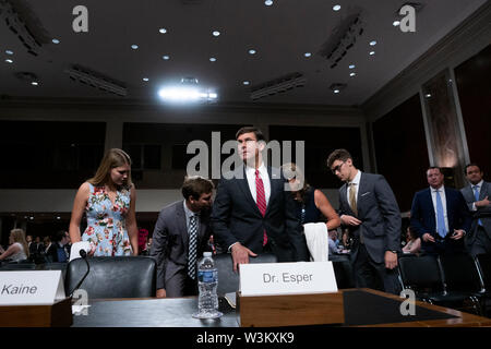 Mark T. Esper arrives to his testimony before the U.S. Senate Armed Services Committee on Capitol Hill in Washington, DC, U.S. on July 16, 2019, as the committee considers his nomination to be United States Secretary of Defense. Credit: Stefani Reynolds/CNP /MediaPunch - Stock Photo