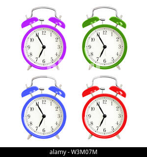 Alarm clocks isolated on white background. Red, blue green and purple wake up alarm clock cut outs. Classic style bell alarm clock. - Stock Photo