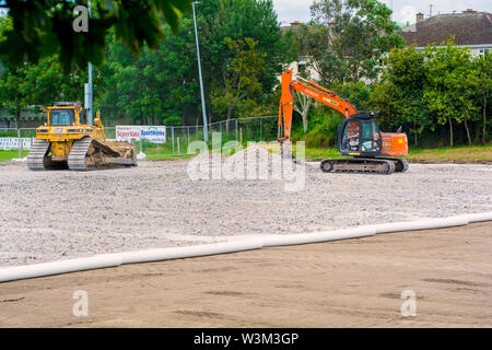 Ground being prepared for the installation of an all-weather pitch at a rugby club - Stock Photo