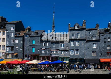 Honfleur downtown Vieux Bassin (Old Dock) cityscape, old medieval buildings, Normandy, France. - Stock Photo