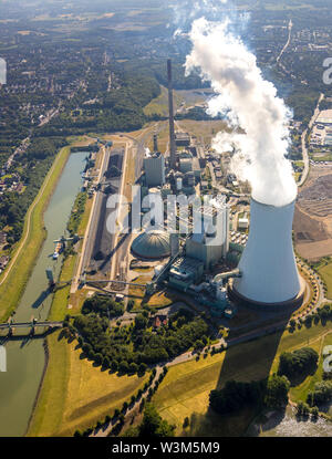 Aerial view of logistics location logport VI in Duisburg-Walsum on the Rhine on the fallow of a former paper mill near hard coal power plant, coal pow - Stock Photo