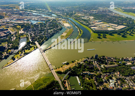 Aerial photograph of the Ruhr estuary into the Rhine near Ruhrort with the new logistics area of the Duisburg port, Duisport at the estuary of the Rhe - Stock Photo