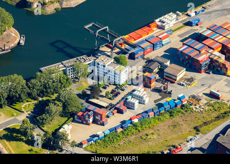 Aerial photograph of the headquarters Duisburger Hafen AG (duisport) of Duisburger Hafen Duisport AG an der Ruhr with Ruhr estuary into the Rhine in o - Stock Photo