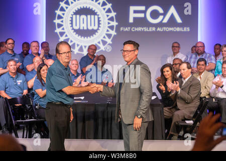Auburn Hills, Michigan USA - 16 July 2019 - Fiat Chrysler and the United Auto Workers opened negotiations for the 2019 collective bargaining contract. - Stock Photo